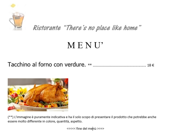 Ristorante there is no place like home menu